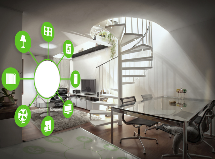 smart house  home automation device illustration with app icons